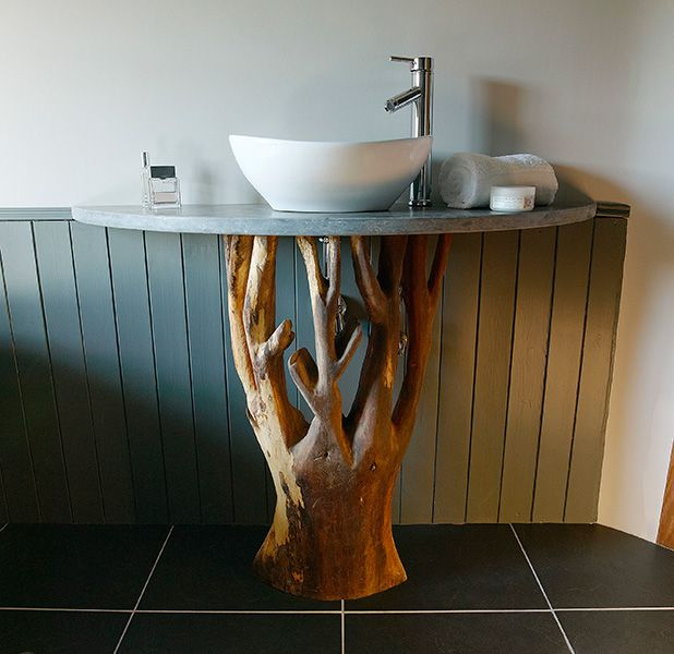 Hand crafted basin stand in the Master bedroom ensuite