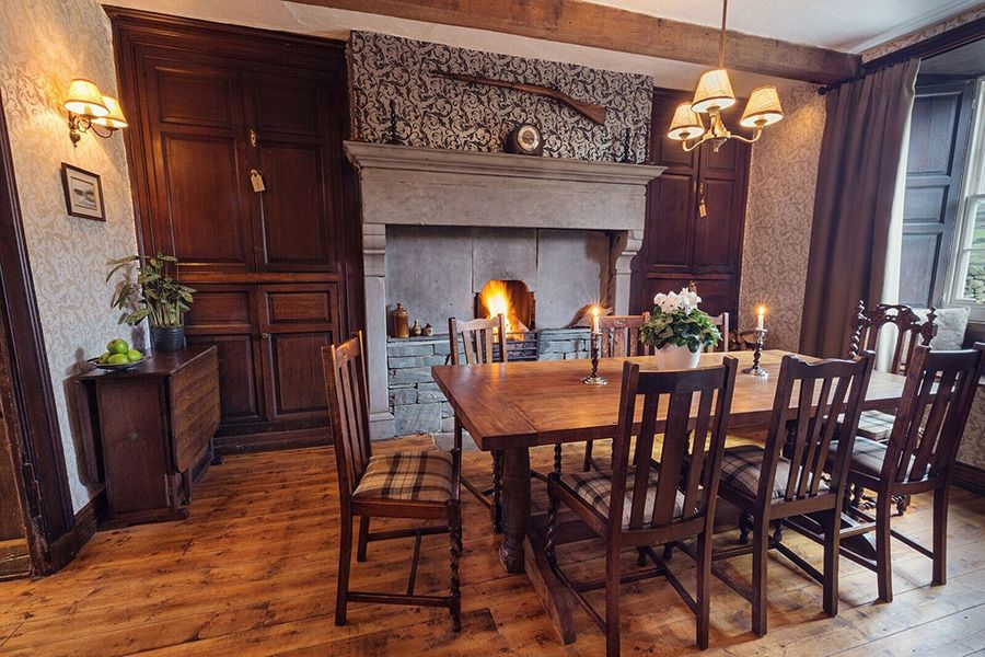 The Georgian dining room with the most amazing fireplace