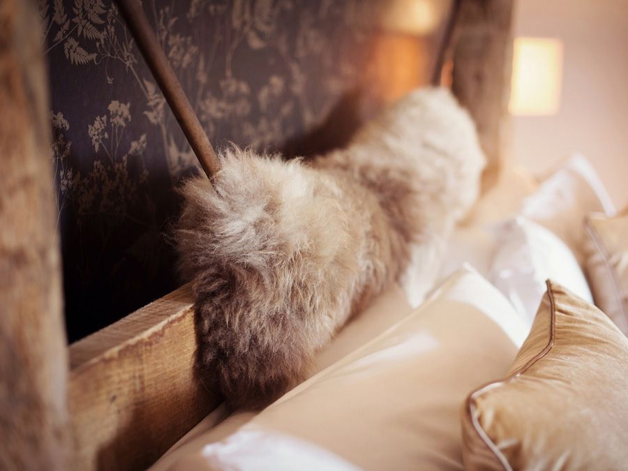 Cosy sheepskins on the bed
