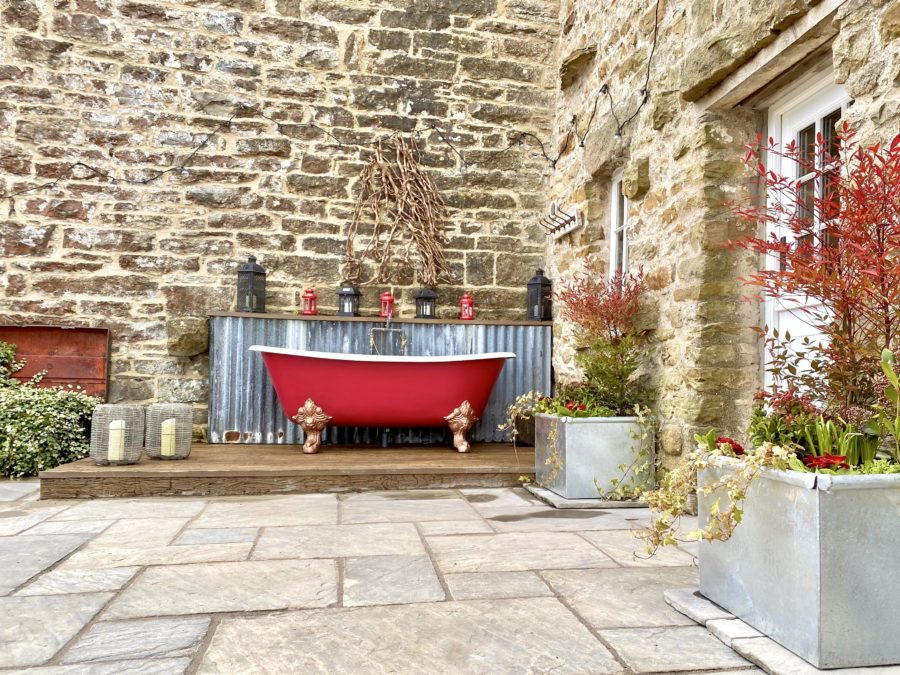 Fancy a dip in the outdoor bath?