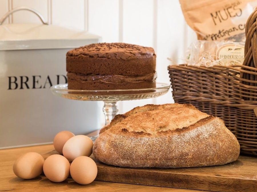 Homemade cake & artisan sourdough bread are amongst the treats in the welcome hamper