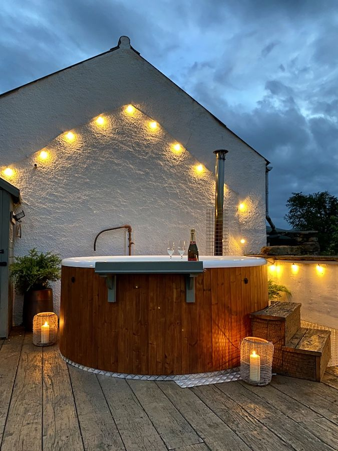 Soaking in the Hot tub with festoon ilights