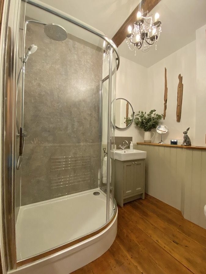Large shower enclosure with rainfall shower